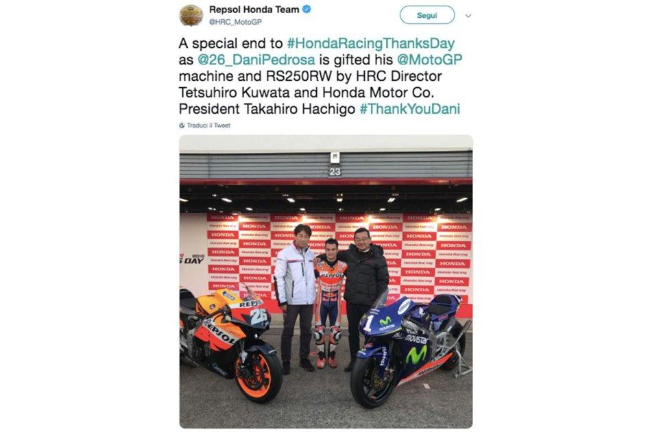 MotoGP: Honda regala a Pedrosa una delle sue MotoGP e la RS250 iridata