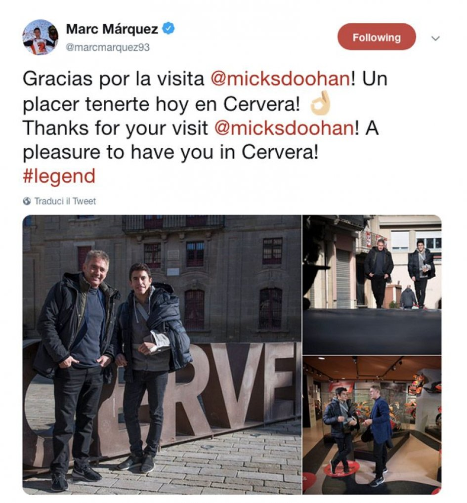 MotoGP: 12 world titles in Cervera: Doohan visits Marquez
