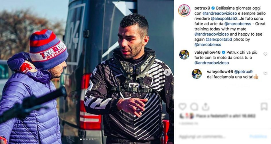 MotoGP: Rossi vs Petrucci e Dovizioso, è già sfida ma col cross