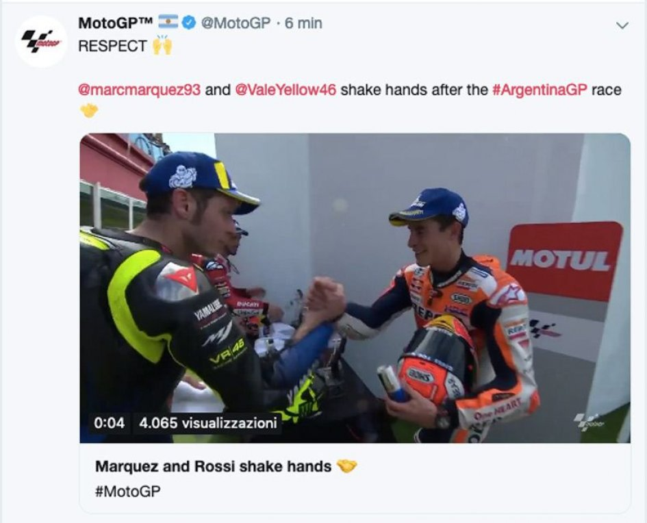 MotoGP: Rossi and Marquez shake their hands before the podium