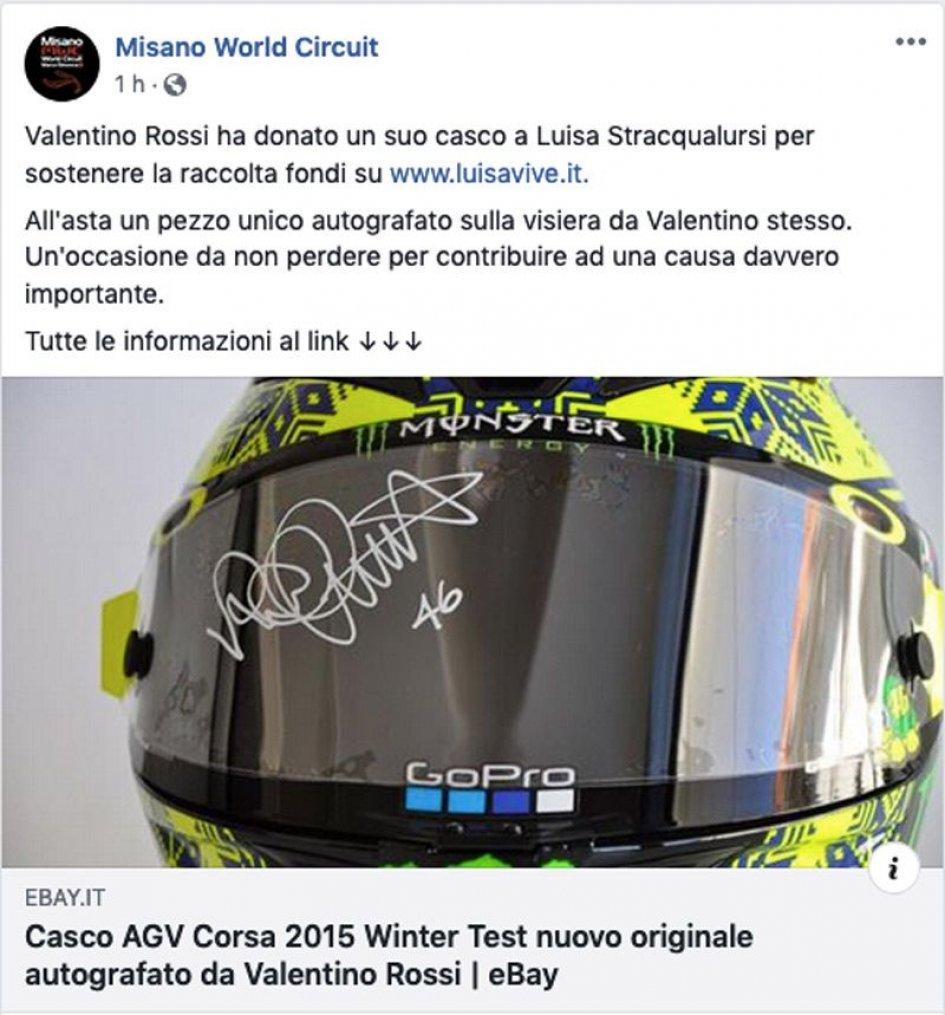 News: Il casco di Rossi all'asta per aiutare Luisa Stracqualursi