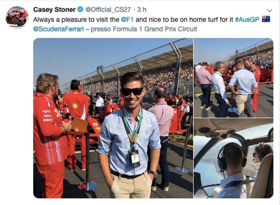 News: Stoner on the track... cheering on Ferrari