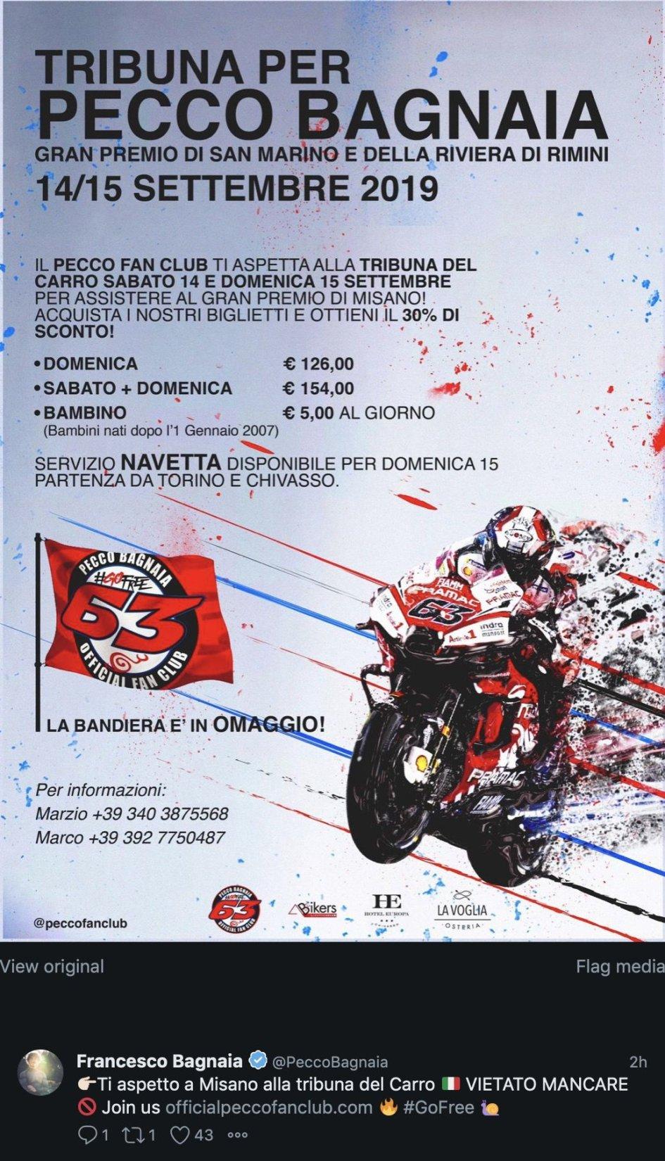MotoGP: Una tribuna per Pecco Bagnaia per il GP di Misano
