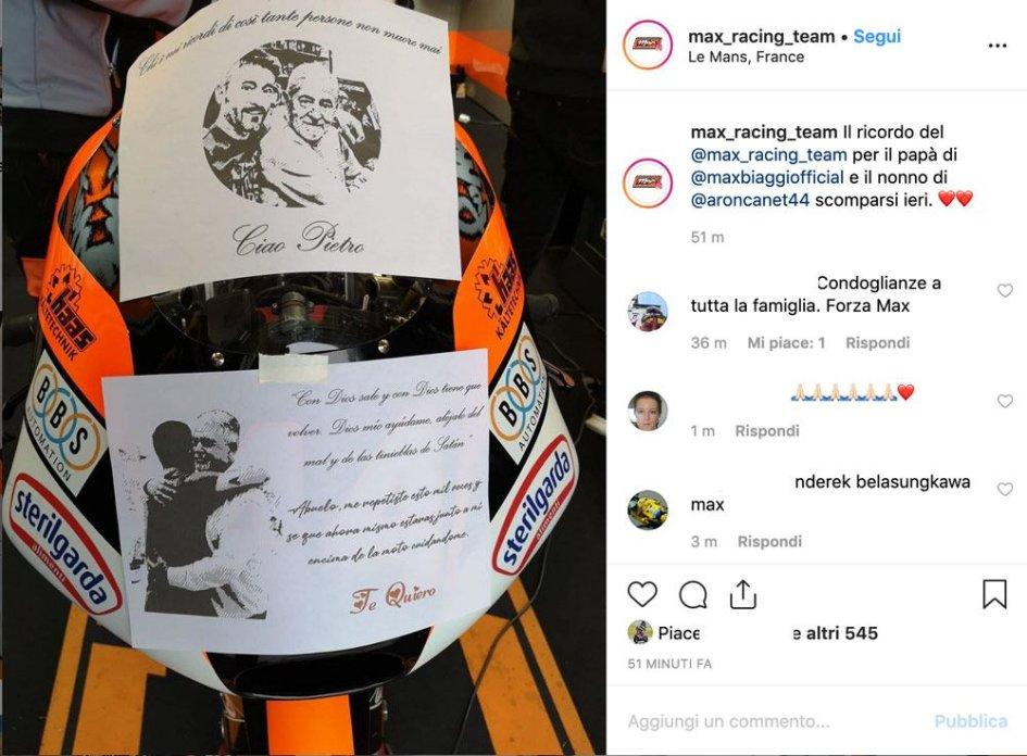 Moto3: Canet a Le Mans ha corso per Pietro Biaggi e suo nonno