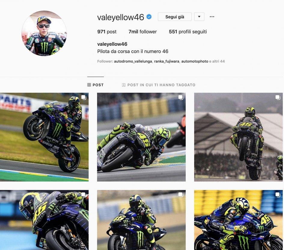 MotoGP: Rossi in the slipstream of Fedez on Instagram, Chiara Ferragni still far ahead