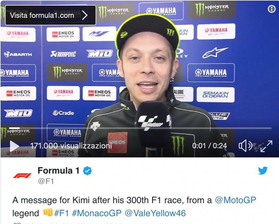MotoGP: Valentino Rossi pays homage to Kimi Raikkonen for the 300 Grand Prix in F1