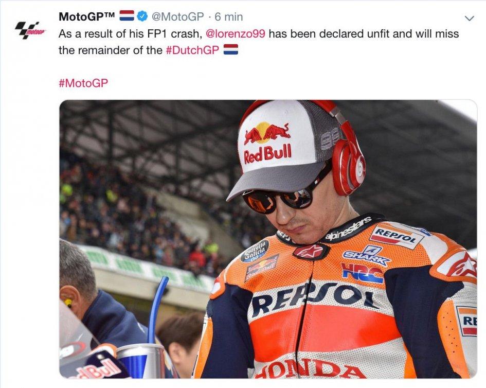 MotoGP: Assen GP over for Lorenzo: fractured vertebra