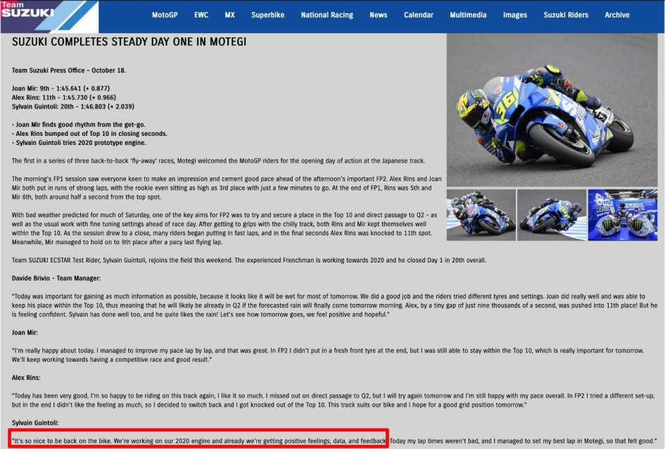 MotoGP: Squalifica Guintoli-Suzuki per motore irregolare: scoperto il delatore