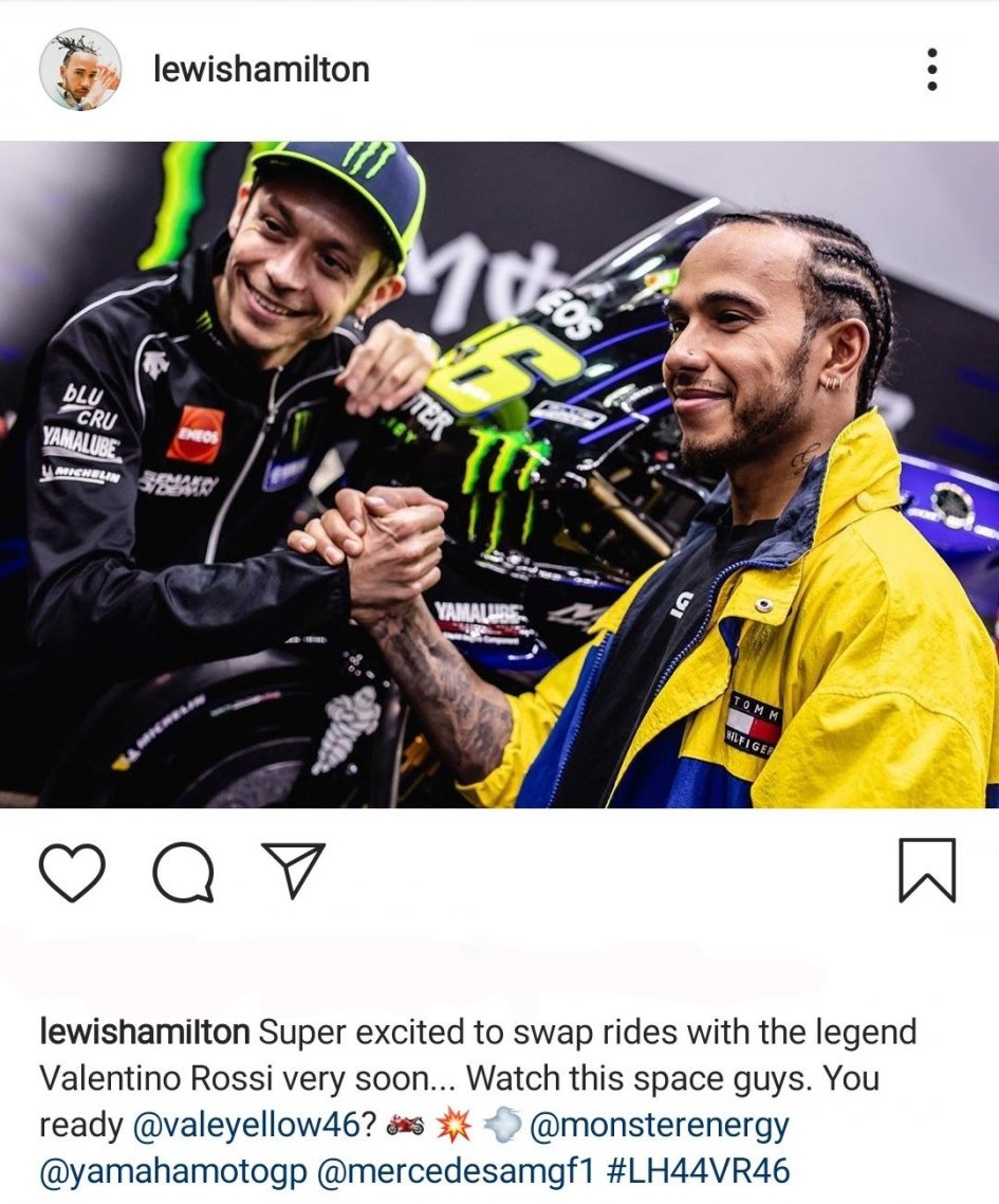 "MotoGP: Hamilton replied to Rossi: ""It'll be super exciting. Are you ready?"""
