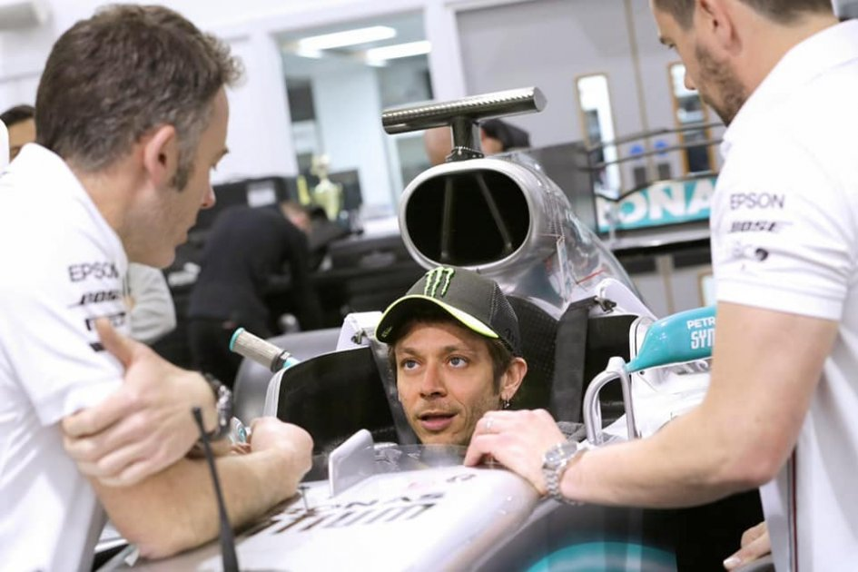 "MotoGP: Rossi already on Hamilton's Mercedes: ""Lewis, we'll have fun."""