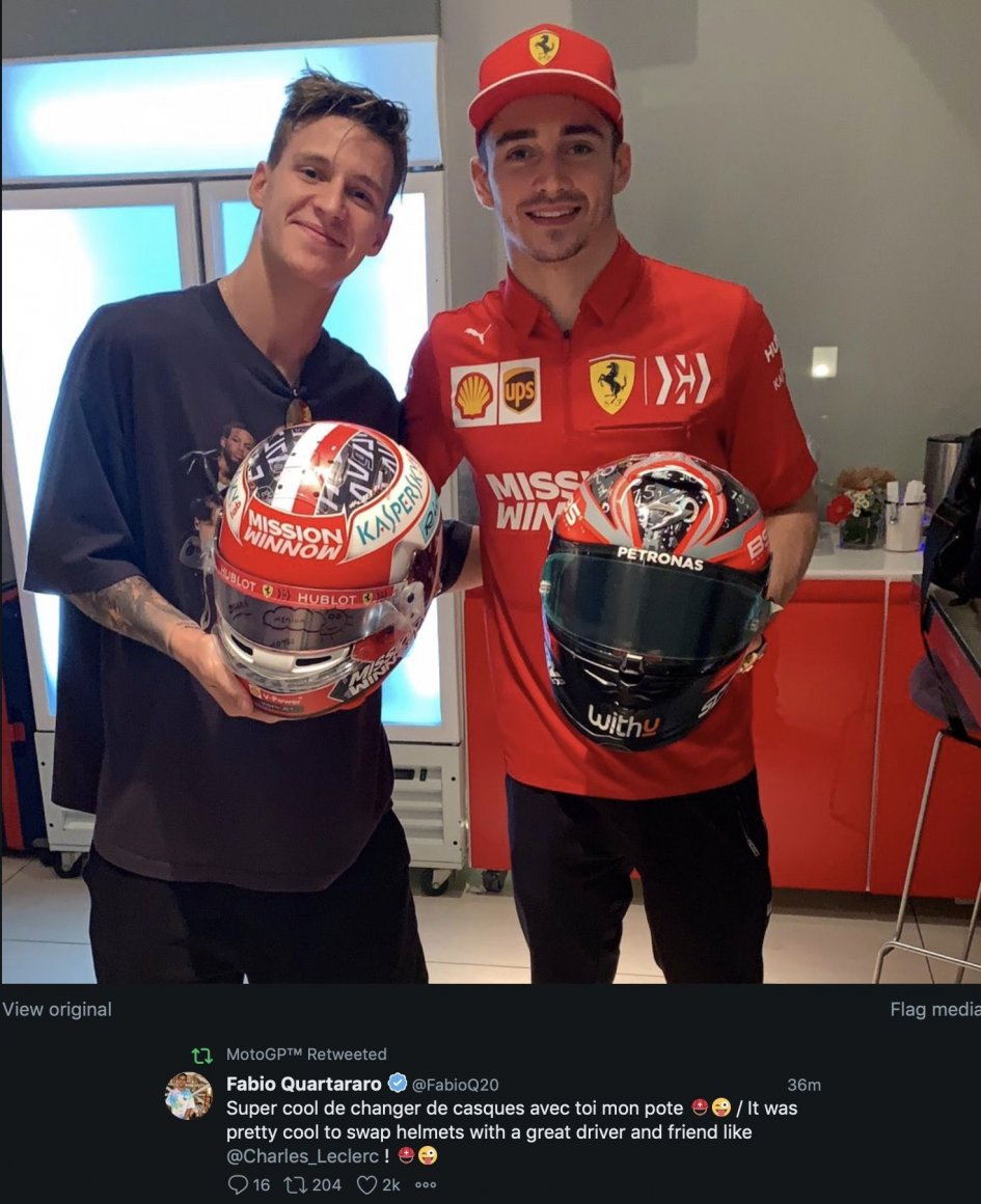 MotoGP: Charles Leclerc and Fabio Quartararo: exchange helmets in Abu Dhabi