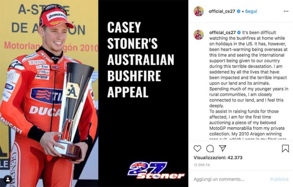 MotoGP: Casey Stoner per l'Australia: all'asta la tuta con cui vinse ad Aragon