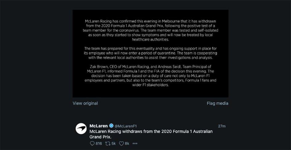 Auto - News: McLaren withdraw from Australian Formula 1 Grand Prix