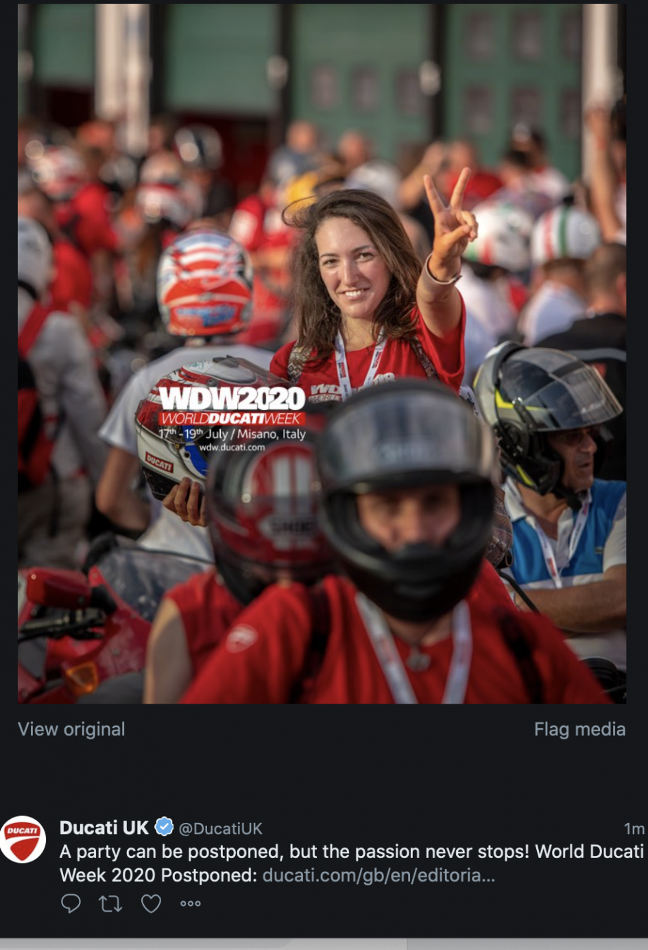 Moto - News: Postponed to 2021 the WDW 2020, but Ducati's passion does not stop there