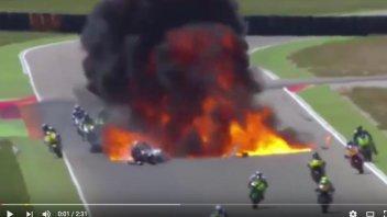 Spettacolare incidente al CEV Moto2 ad Aragon