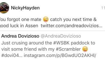 Hayden 'bacchetta' Dovizioso con ironia su twitter