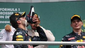 Daniel Ricciardo drinks from a shoe like Jack Miller