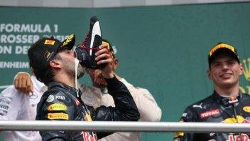 Daniel Ricciardo drinks from a shoe like Jack Miller
