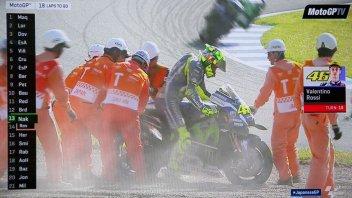 Rossi and Lorenzo crash at Motegi, Marquez is champion!