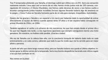 Lorenzo: lettera speciale a Yamaha con una promessa