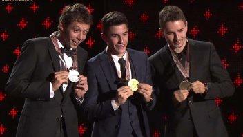 Marquez, Rossi and Lorenzo at the MotoGP prizegiving