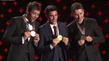 Marquez, Rossi and Lorenzo at the MotoGP prizegiving