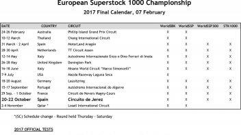 SBK: Final SBK calendar: Jerez returns