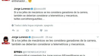 MotoGP: Battibecco su Twitter per Jorge Lorenzo