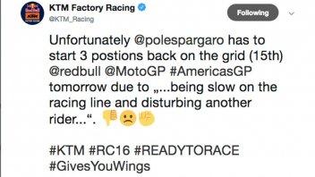 MotoGP: Anche Pol Espargarò penalizzato di 3 posizioni