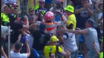 MotoGP: Marc Marquez at the Sachsenring celebrates among Rossi's fans!