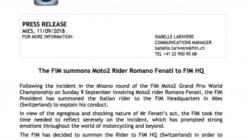 Moto2: The FIM summons Romano Fenati to Geneva!
