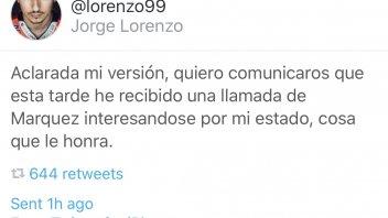 MotoGP: Jorge Lorenzo: Marquez mi ha chiamato, gli fa onore