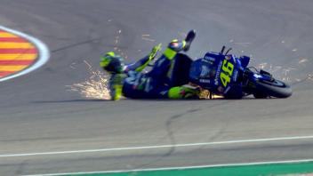 MotoGP: FP3 nera per Valentino Rossi: cade e finisce in Q1