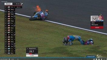 MotoGP: Pioggia e fiamme a Motegi: spaventosa caduta per Alex Marquez