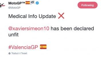MotoGP: Xavier Simeon non corre a Valencia
