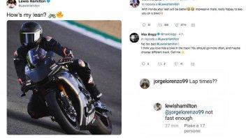 MotoGP: Hamilton, Marquez, Lorenzo e Biaggi: un tweet da 23 mondiali