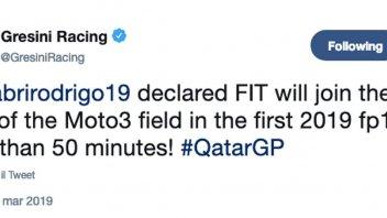 Moto3: Rodrigo ha l'OK dei medici: proverà a correre in Qatar