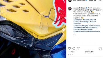 MotoGP: Dovizioso: TAC alle testa negativa. Andrea ringrazia il casco
