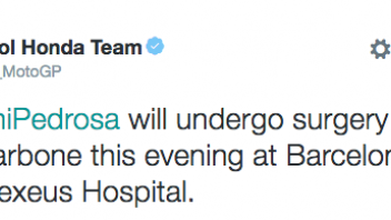 Pedrosa will undergo surgery this evening in Barcelona