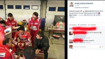MotoGP: Pirro e Jorge Lorenzo fianco a fianco nei box