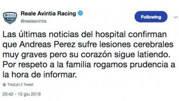Moto3: CEV: Gravi danni cerebrali per Perez ma il cuore batte