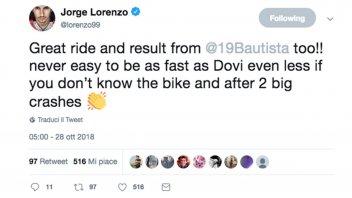 """MotoGP: Lorenzo a Bautista: """"Gran gara, difficile andare forte come Dovi!"""""""