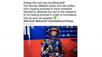 Moto2: Ottl salta Assen: nausea e problemi alla vista lo tengono fuori dal GP