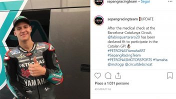 MotoGP: OK dei medici per Quartararo, correrà a Barcellona