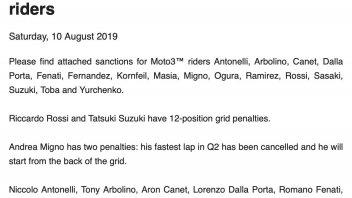 Moto3: Sedici piloti penalizzati: c'è anche Fenati!