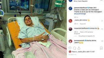 MotoGP: Joan Mir rassicura tutti dall'ospedale dopo l'incidente nei test