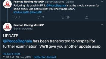 MotoGP: Bagnaia portato all'ospedale di Valencia per accertamenti