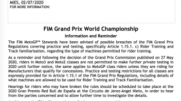 News: Due piloti Moto2/3 chiamati dai Commissari Sportivi della FIM a Jerez