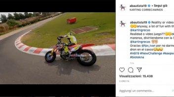 SBK: Alvaro Bautista come in un videogame: sfida con il drone sul motard!