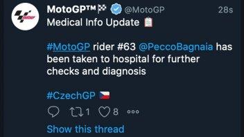 MotoGP: Brno: Pecco Bagnaia portato in ospedale per accertamenti